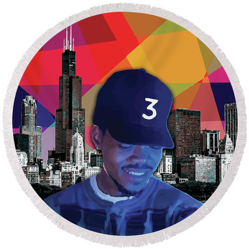 Chance The Rapper Round Beach Towel featuring the painting Chance Chicago by Carla B