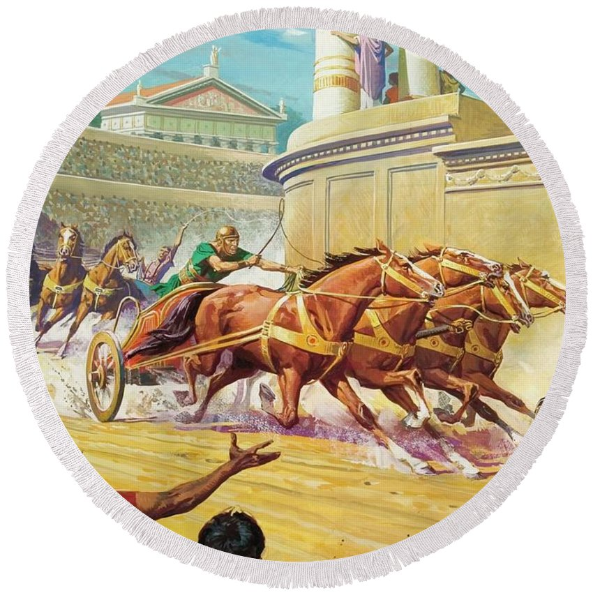 Chariot Race Round Beach Towel featuring the painting Chariot Race At The Circus Maximus by Severino Baraldi