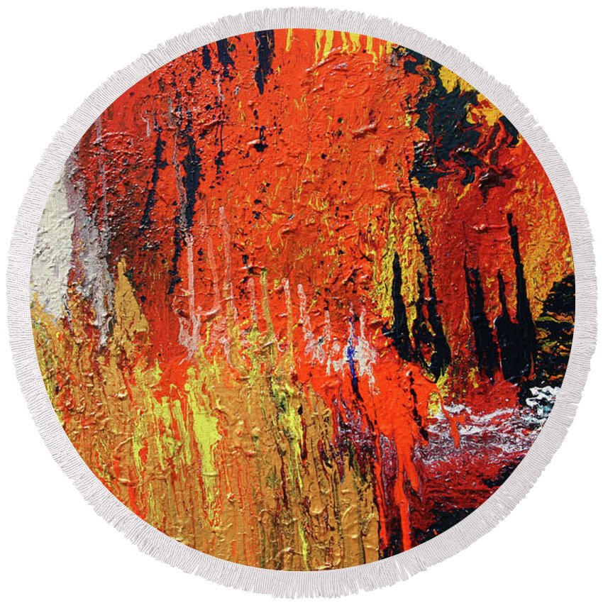Fusionart Round Beach Towel featuring the painting Chasm by Ralph White