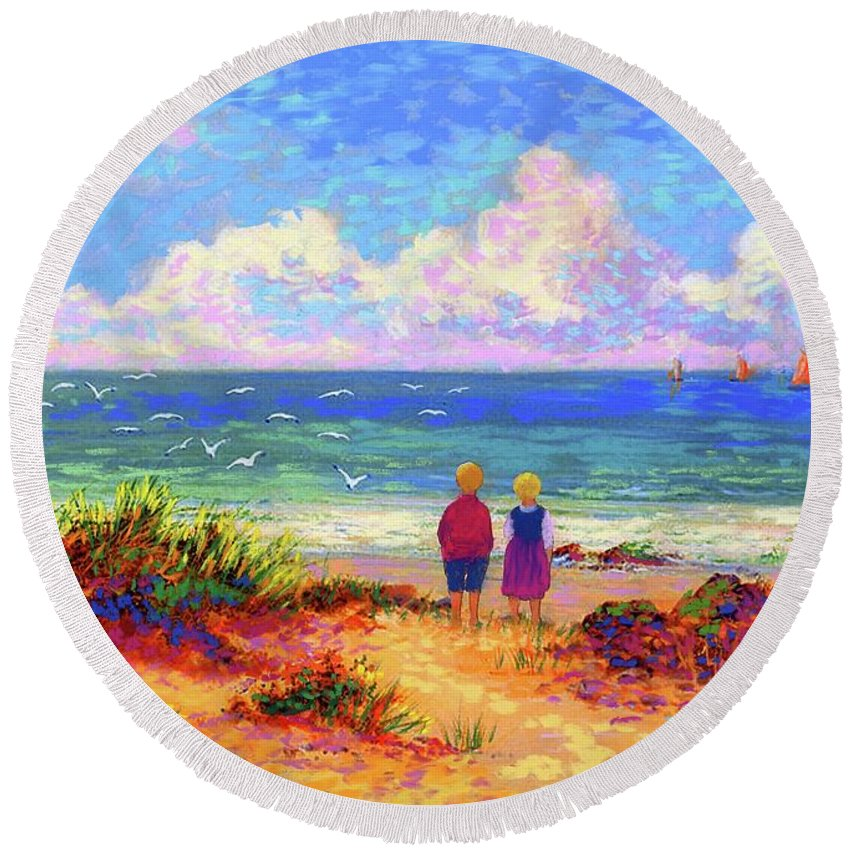 Ocean Round Beach Towel featuring the painting Children Of The Sea by Jane Small
