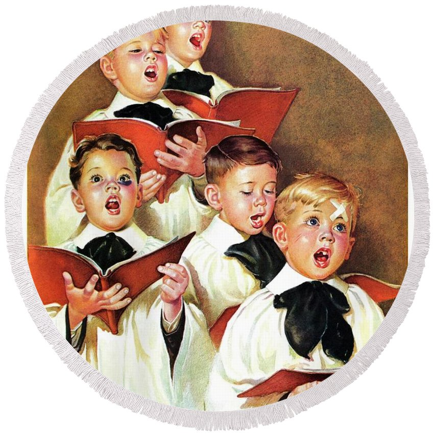 Black Eyes Round Beach Towel featuring the drawing Choir Boys Will Be Boys by Frances Tipton Hunter