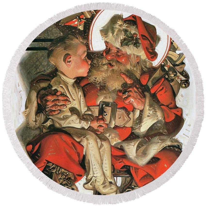 Joseph Christian Leyendecker Round Beach Towel featuring the painting Christmas Eve - Digital Remastered Edition by Joseph Christian Leyendecker