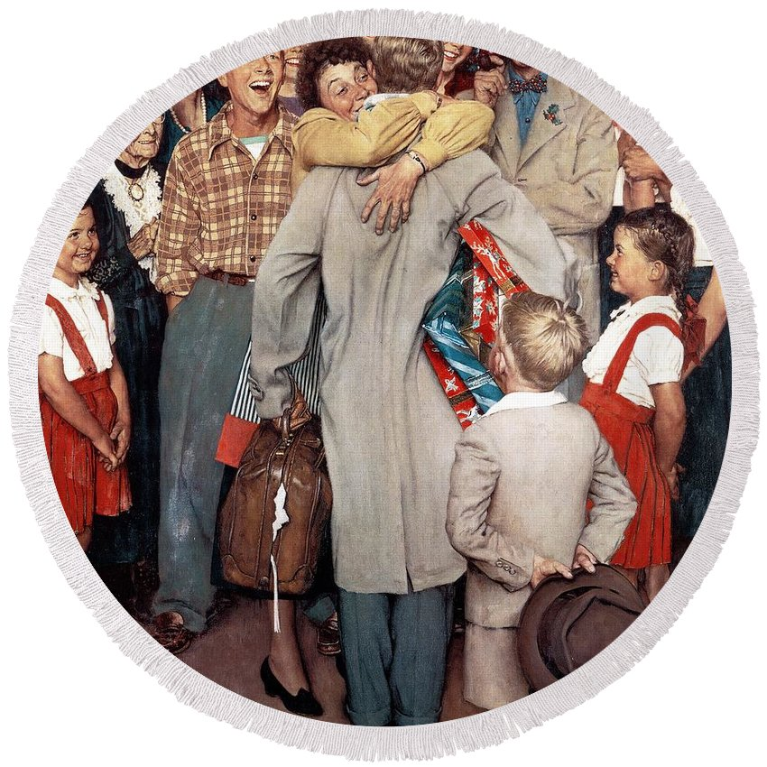 Christmas Round Beach Towel featuring the drawing Christmas Homecoming by Norman Rockwell