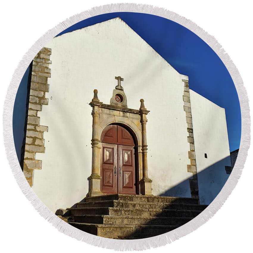Photograph Round Beach Towel featuring the photograph Church Of Misericordia. Portugal by Angelo DeVal