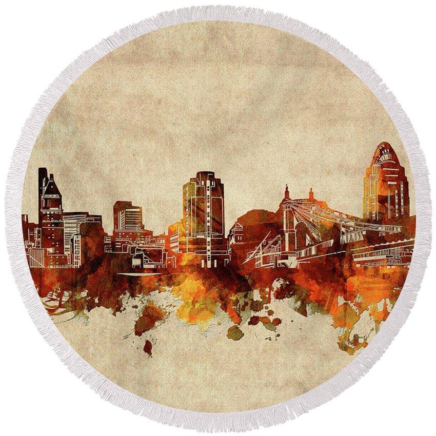 Cincinnati Round Beach Towel featuring the digital art Cincinnati Skyline Sepia by Bekim M