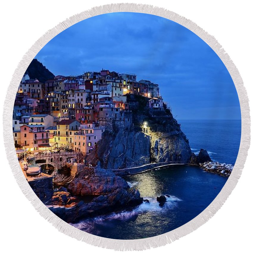 Cinque Terre Round Beach Towel featuring the mixed media Cinque Terre Italy Seaside View At Night by Design Turnpike