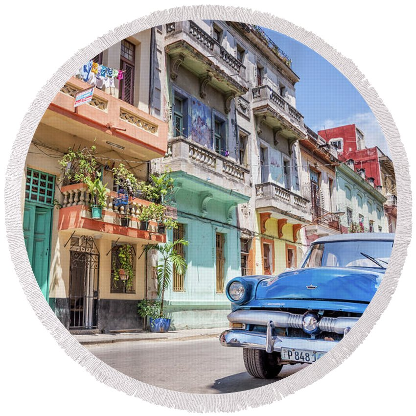 Classic Round Beach Towel featuring the photograph Classic Car In Havana, Cuba by Delphimages Photo Creations