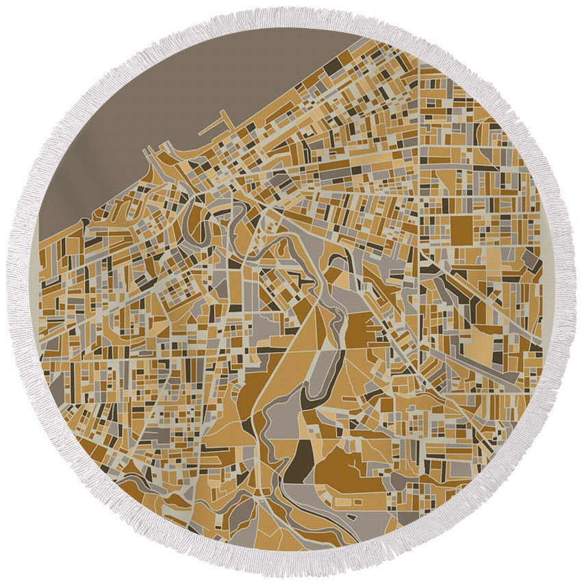 Cleveland Round Beach Towel featuring the digital art Cleveland Map Retro 4 by Bekim M