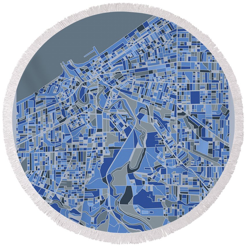 Cleveland Round Beach Towel featuring the digital art Cleveland Map Retro 5 by Bekim M