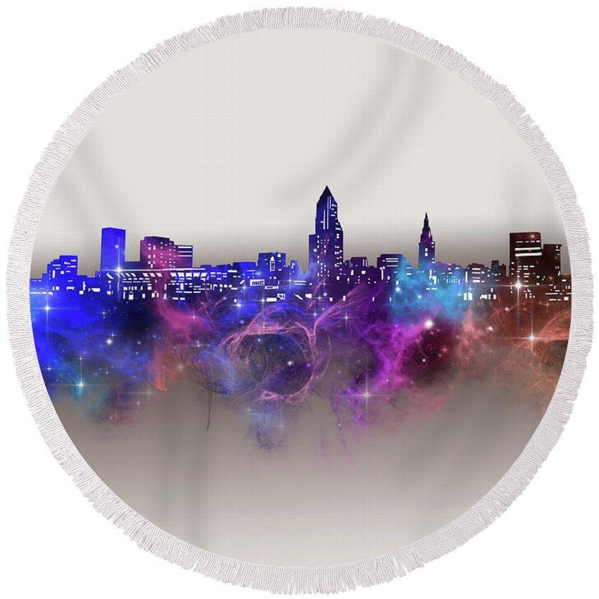 Cleveland Round Beach Towel featuring the digital art Cleveland Skyline Galaxy by Bekim M