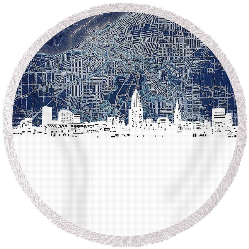 Cleveland Round Beach Towel featuring the digital art Cleveland Skyline Map Blue by Bekim M