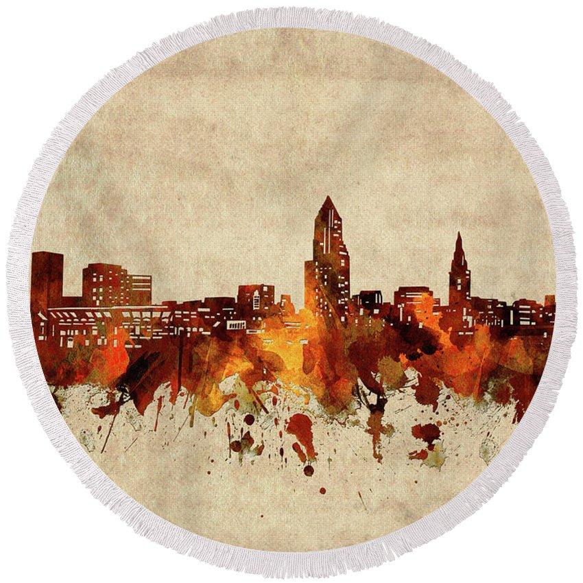 Cleveland Round Beach Towel featuring the digital art Cleveland Skyline Sepia by Bekim M