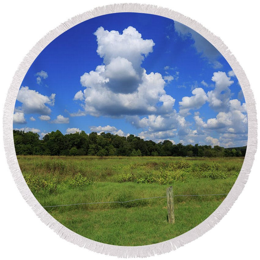 Buffalo River Round Beach Towel featuring the photograph Clouds Surround The Landscape by Terri Morris