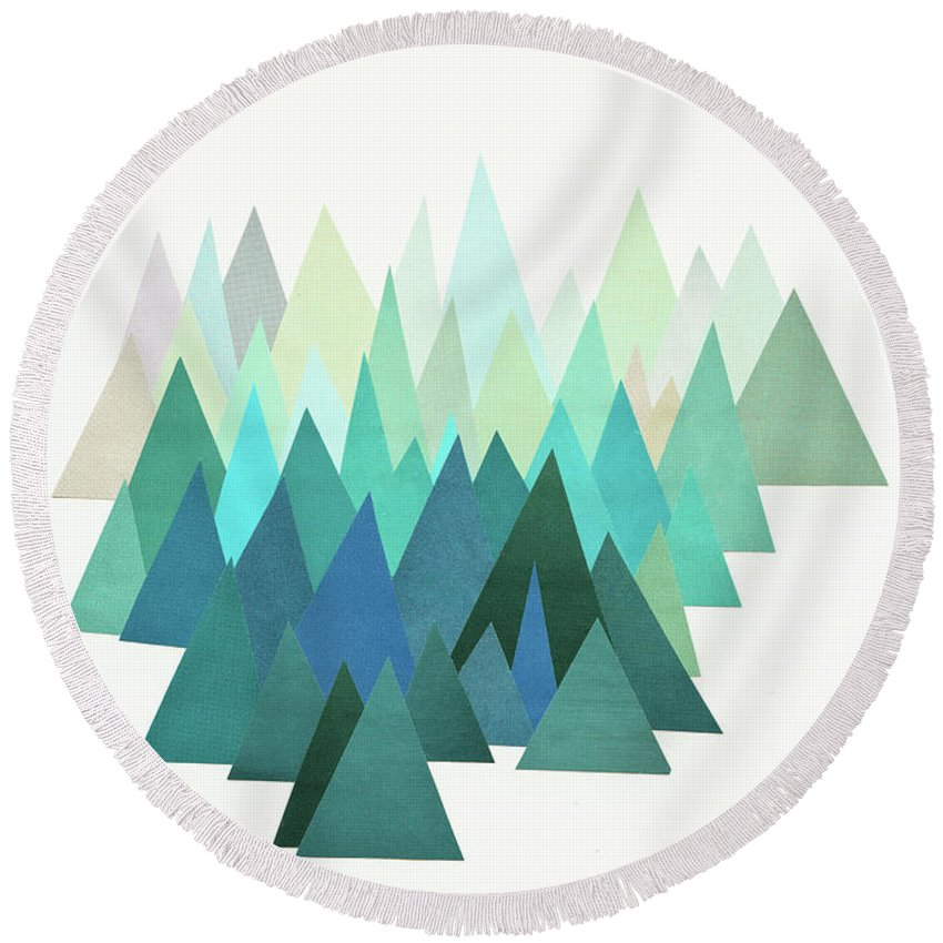 Mountains Round Beach Towel featuring the mixed media Cold Mountain by Cassia Beck