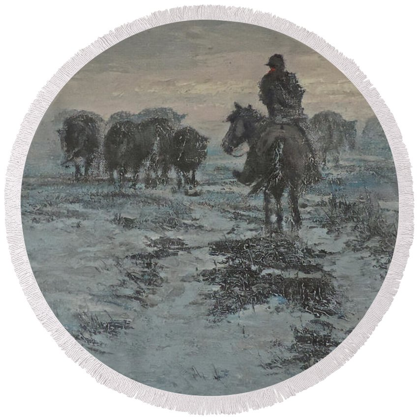 Ranching Round Beach Towel featuring the painting Cold Trail Home by Mia DeLode