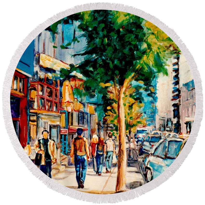 Paintings Of Montreal Round Beach Towel featuring the painting Colorful Cafe Painting Irish Pubs Bistros Bars Diners Delis Downtown C Spandau Montreal Eats     by Carole Spandau