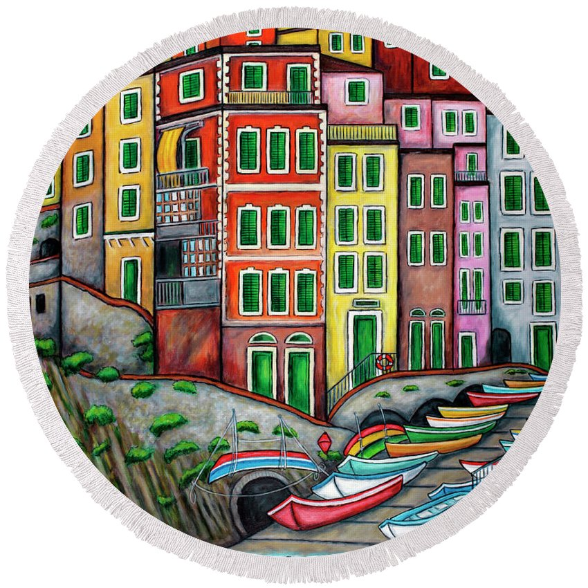 Italy Round Beach Towel featuring the painting Colours of Riomaggiore, Cinque Terre by Lisa Lorenz