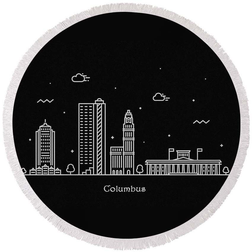 Columbus Round Beach Towel featuring the drawing Columbus Skyline Travel Poster by Inspirowl Design