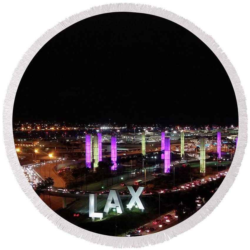 I Love La Round Beach Towel featuring the photograph Coming And Going In The Heart Of L A At Night-time by Ginger Goodspeed
