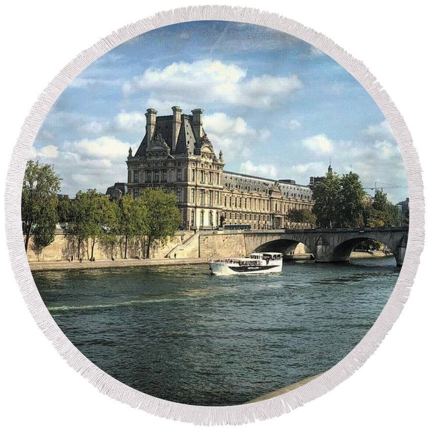 The Louvre Round Beach Towel featuring the photograph Contemplating The Louvre by Luther Fine Art