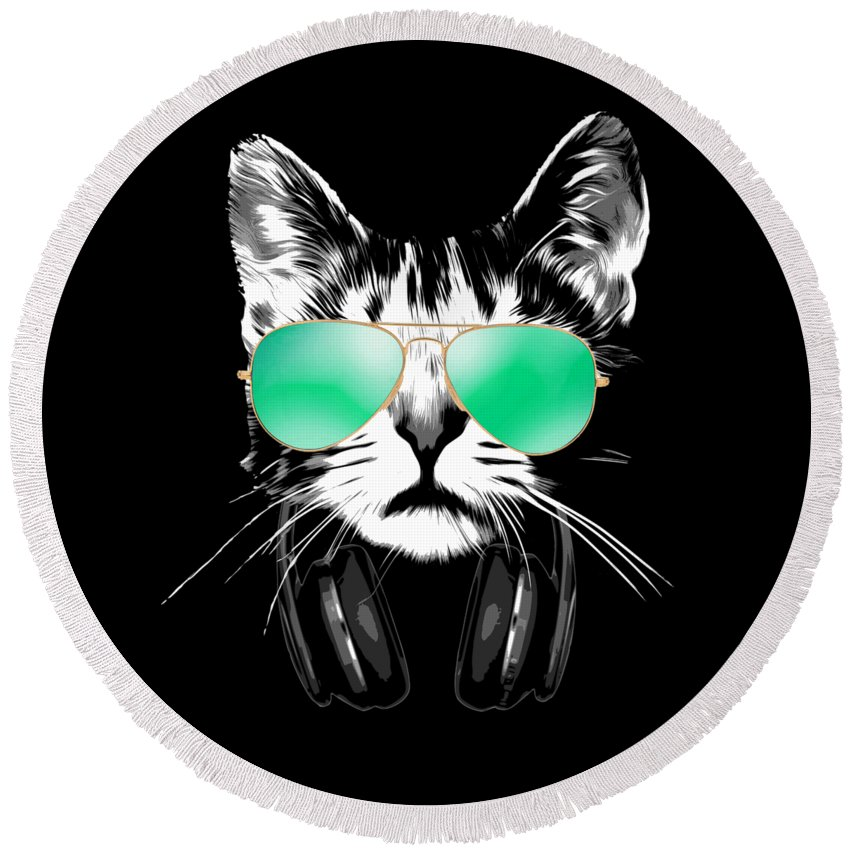 Cat Round Beach Towel featuring the digital art Cool DJ Cat by Filip Schpindel