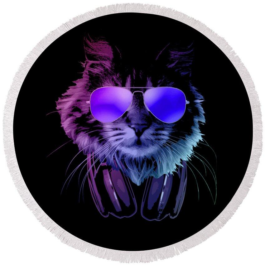 Cat Round Beach Towel featuring the digital art Cool DJ Furry Cat In Neon Lights by Filip Schpindel