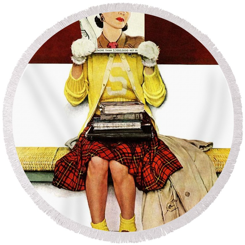 Covers Round Beach Towel featuring the drawing Cover Girl by Norman Rockwell