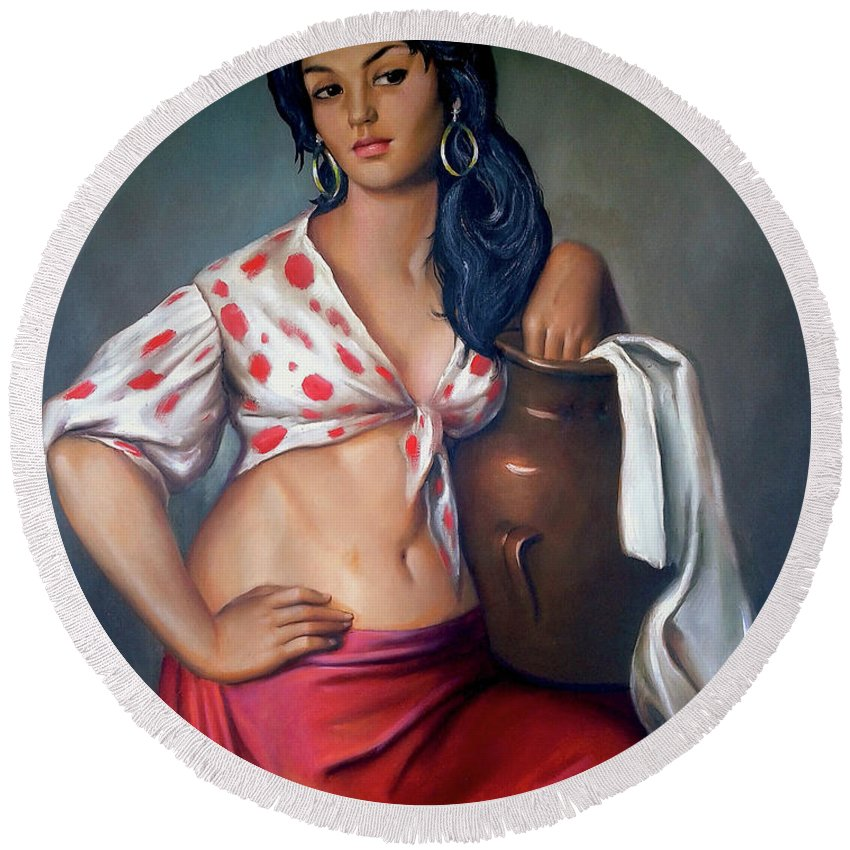 Lady Round Beach Towel featuring the painting Cuban Girl by Jose Manuel Abraham