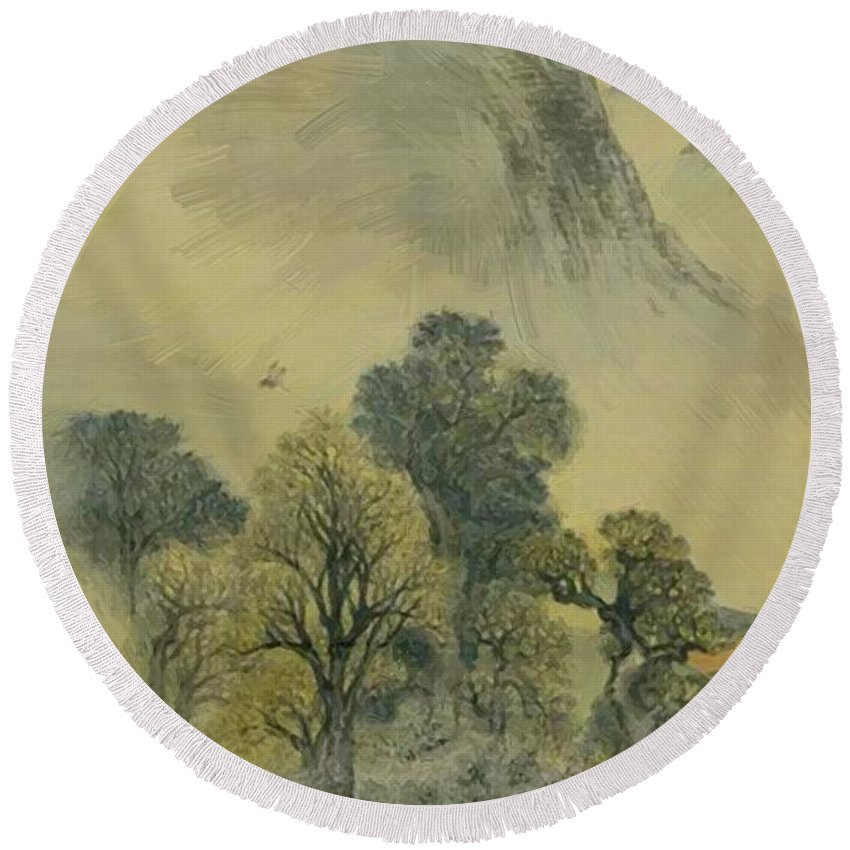 Cuckoo Round Beach Towel featuring the painting Cuckoo Flying Over New Verdure by Buson Yosa