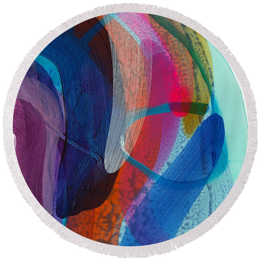 Abstract Round Beach Towel featuring the painting Dancing In The Kitchen by Claire Desjardins