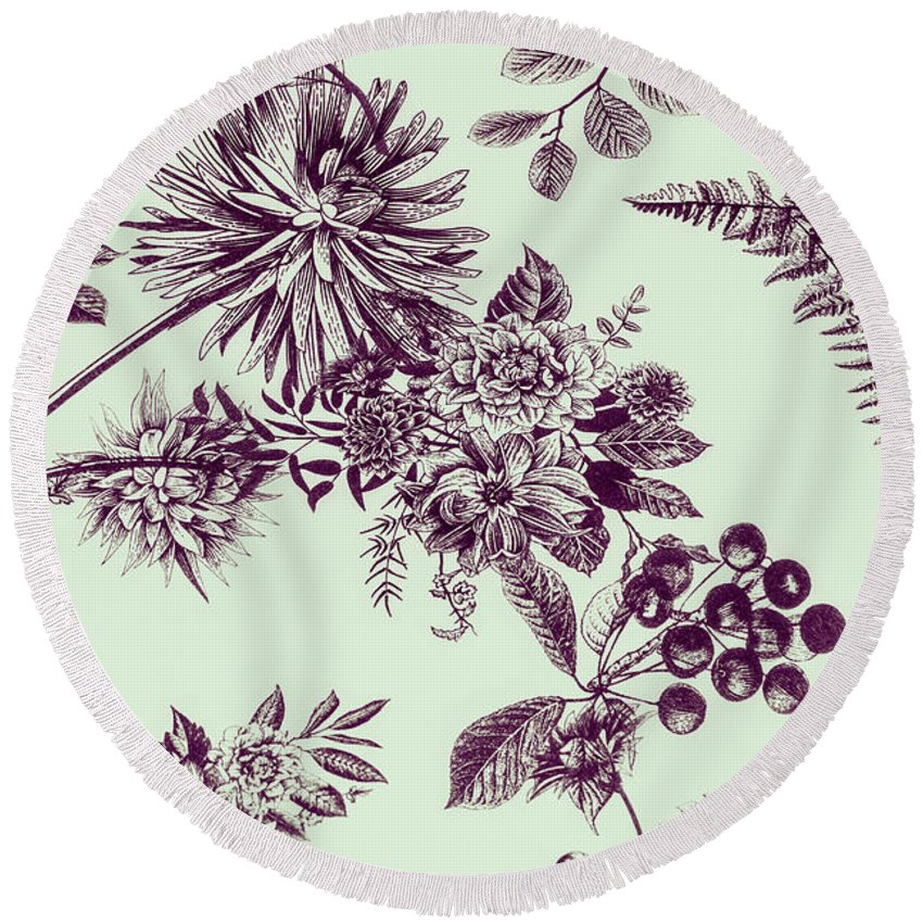 Ornate Round Beach Towel featuring the photograph Dandelion Design by Jorgo Photography - Wall Art Gallery