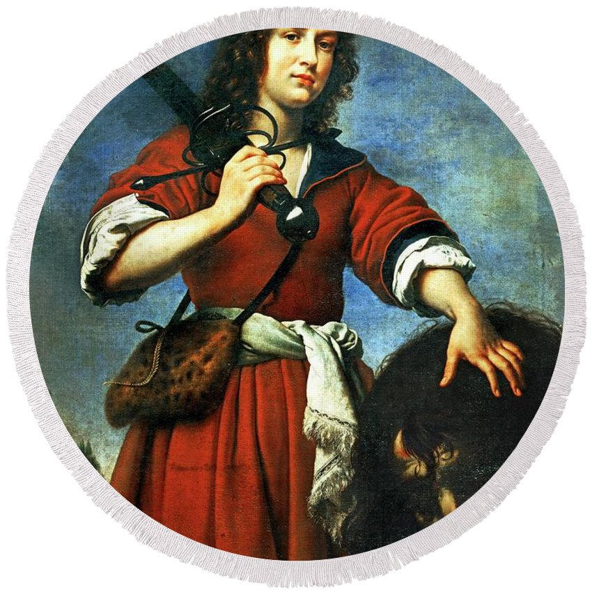 Carlo Dolci Round Beach Towel featuring the painting 'david With The Head Of Goliath', 1680, Oil On Canvas. by Carlo Dolci -1616-1686-