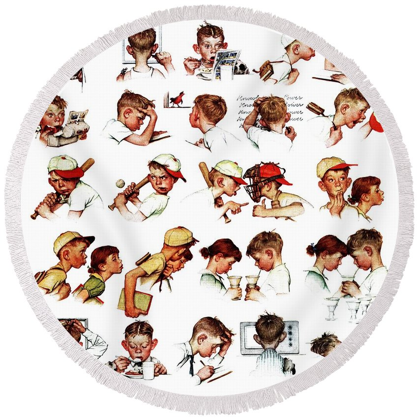 Baseball Round Beach Towel featuring the drawing Day In The Life Of A Boy by Norman Rockwell