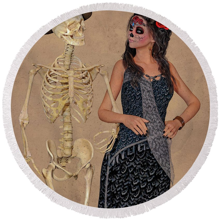 Skeleton Round Beach Towel featuring the digital art Day Of The Dead Costume Party by Betsy Knapp
