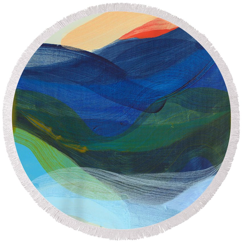 Abstract Round Beach Towel featuring the painting Deep Sleep Undone by Claire Desjardins