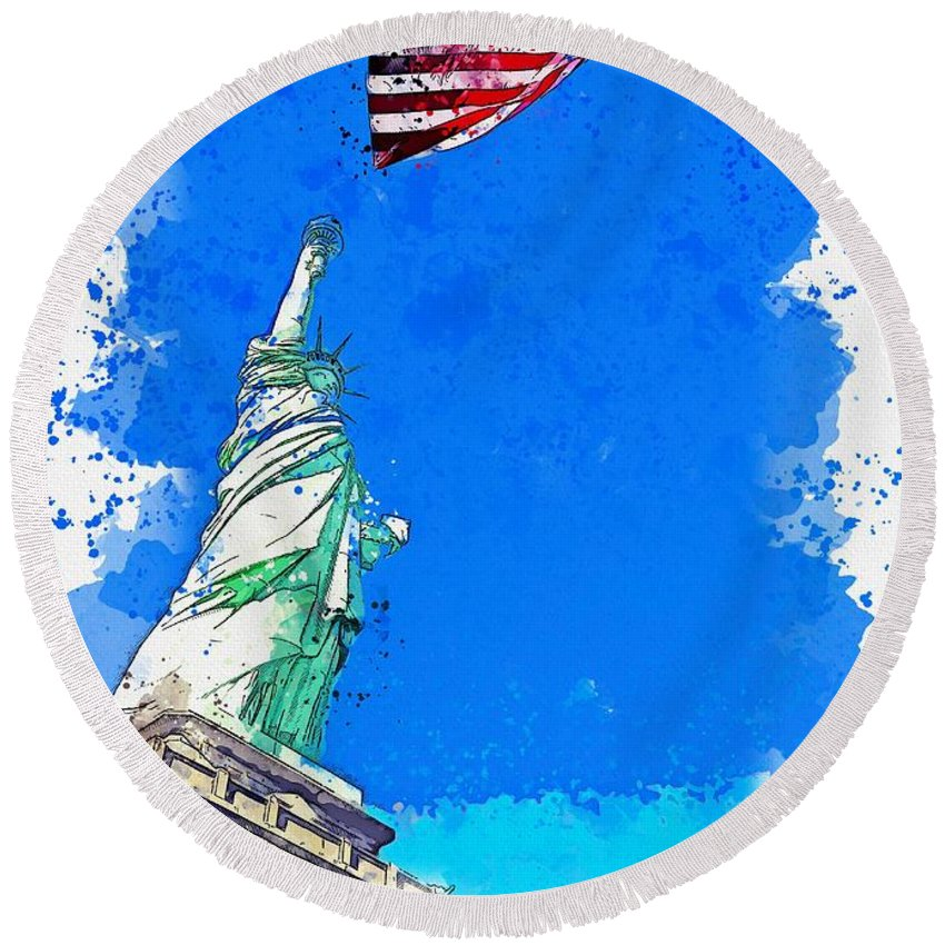 Liberty Round Beach Towel featuring the painting Defending Liberty Watercolor By Ahmet Asar by Ahmet Asar