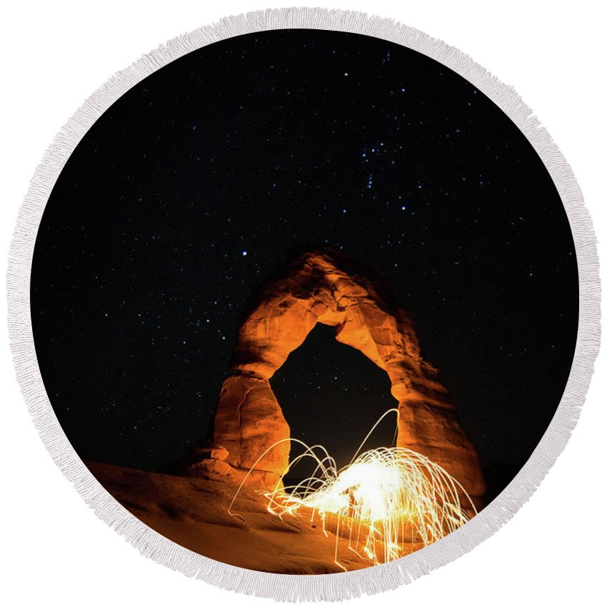 Delicate Arch Round Beach Towel featuring the photograph Delicate Arch Steel Wool by Nathan Bush