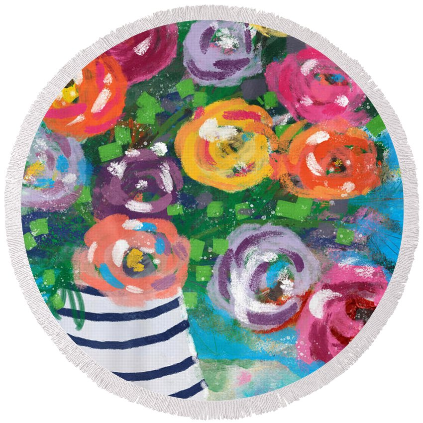 Flowers Round Beach Towel featuring the mixed media Delightful Bouquet 6- Art By Linda Woods by Linda Woods
