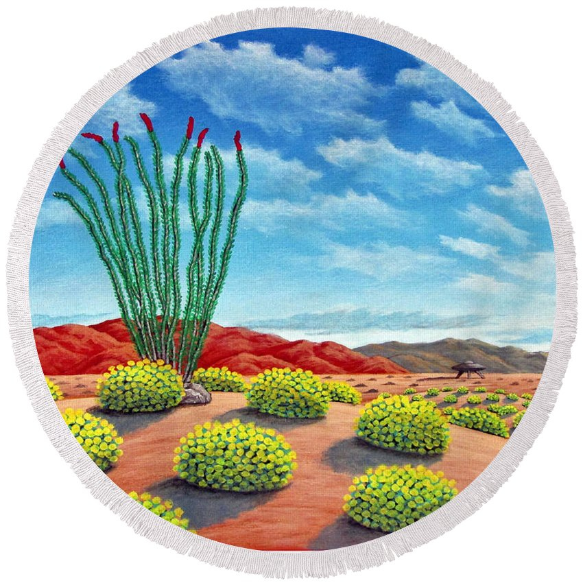 Desert Round Beach Towel featuring the painting Desert Landing by Snake Jagger
