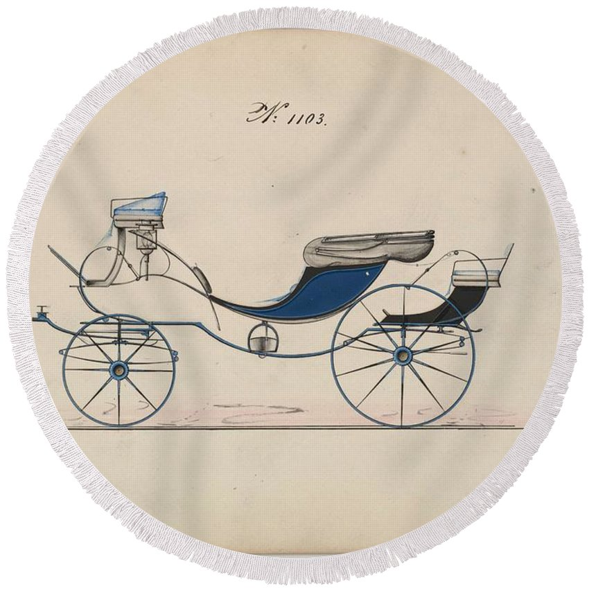 Car Round Beach Towel featuring the painting Design For Eight Spring Victoria, No. 1103 Brewster And Co. American, New York by MotionAge Designs