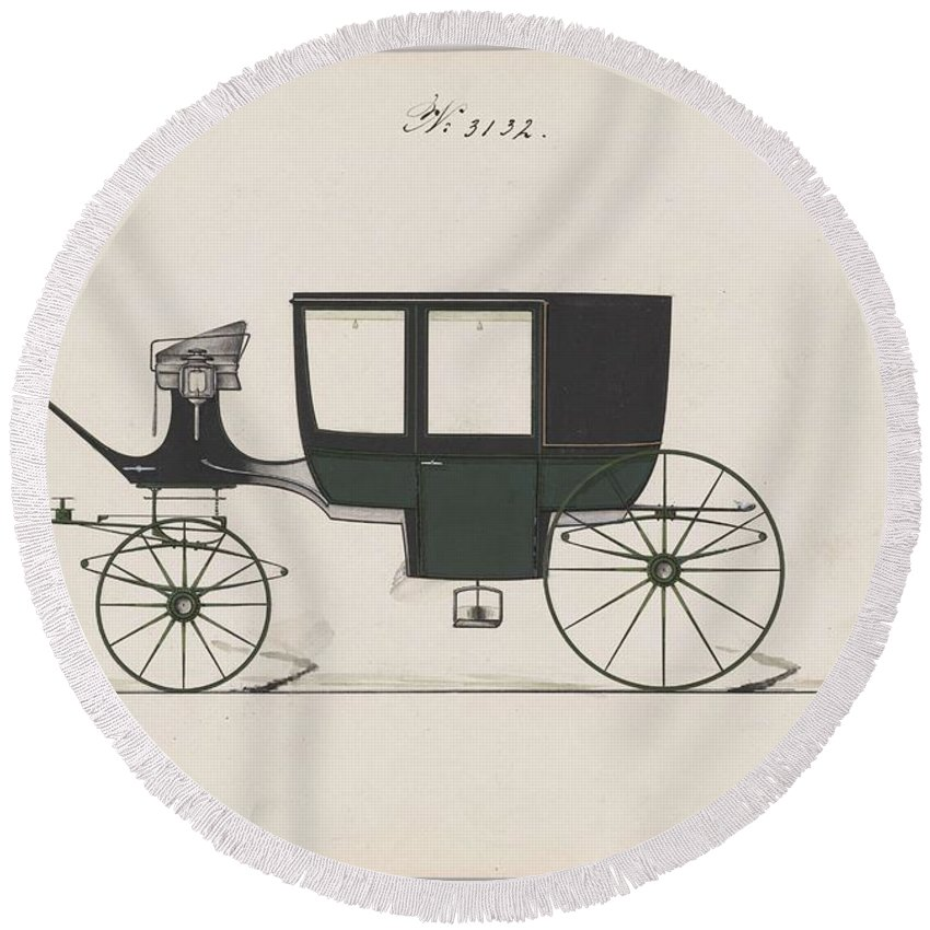 Car Round Beach Towel featuring the painting Design For Glass Panel Coach, No. 3132 1875 by MotionAge Designs