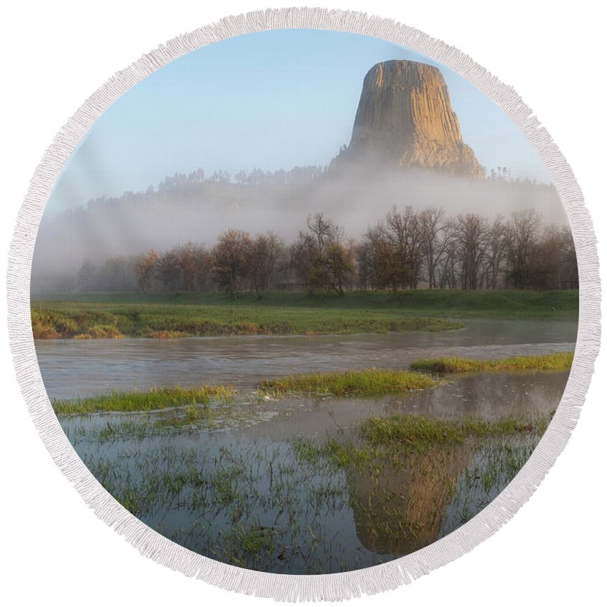 Cleveland Round Beach Towel featuring the photograph Devil's Tower National Monument by Matt Shiffler