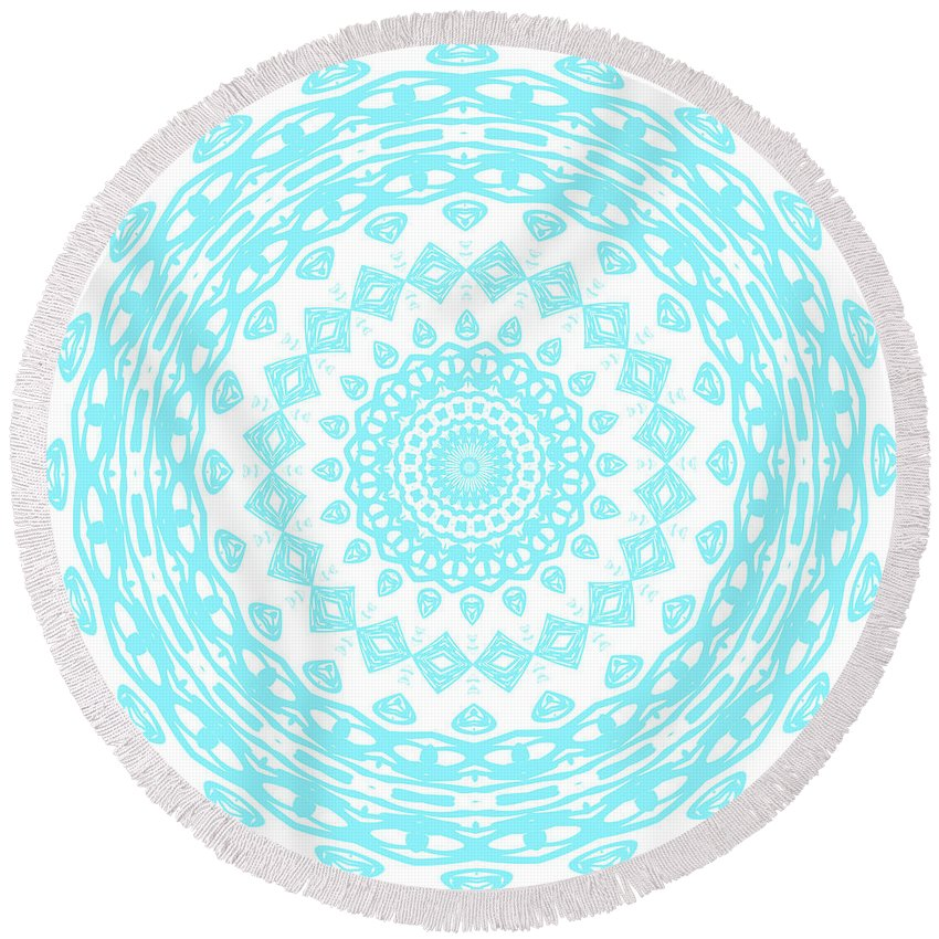 Kaleidoscope Round Beach Towel featuring the digital art Digital Art 104 by Angie Tirado
