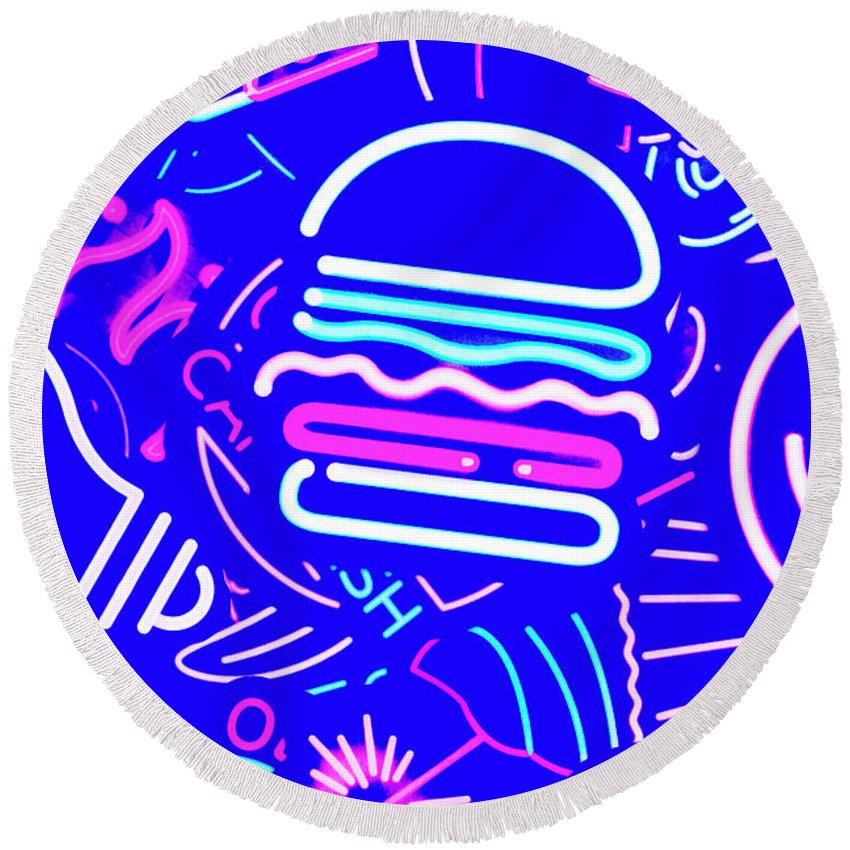 Burger Round Beach Towel featuring the photograph Diner Lights by Jorgo Photography - Wall Art Gallery