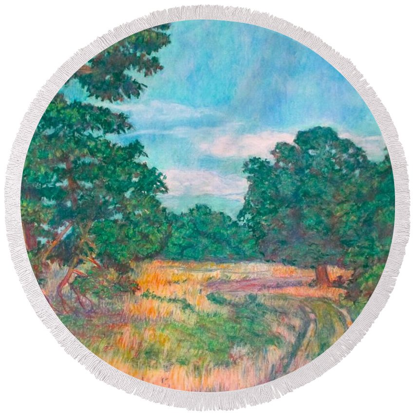 Landscape Round Beach Towel featuring the painting Dirt Road Near Rock Castle Gorge by Kendall Kessler