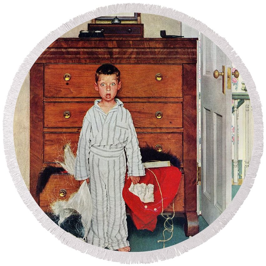 Bedrooms Round Beach Towel featuring the drawing Discovery by Norman Rockwell