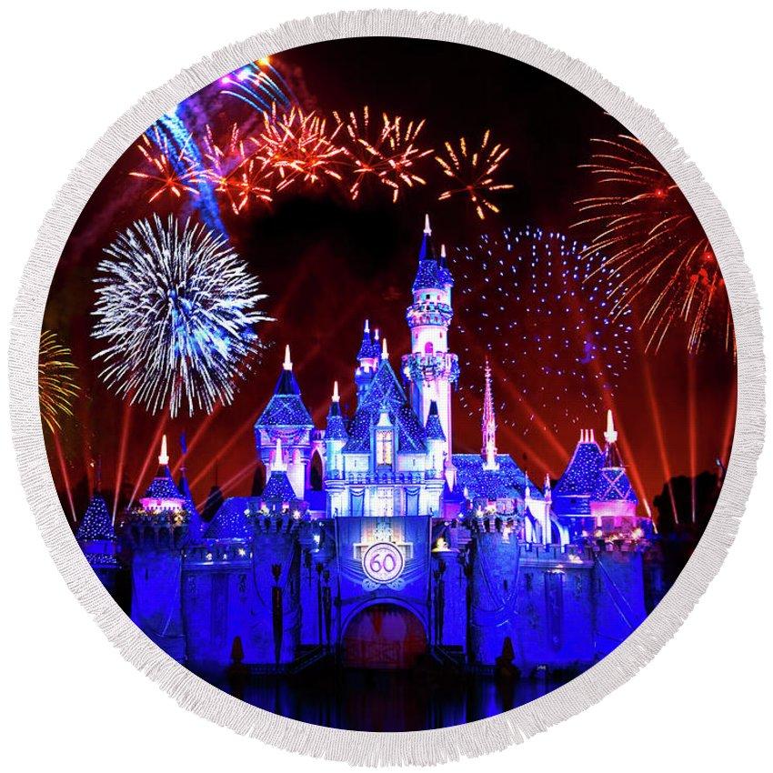 Disneyland Round Beach Towel featuring the photograph Disneyland 60th Anniversary Fireworks by Mark Andrew Thomas