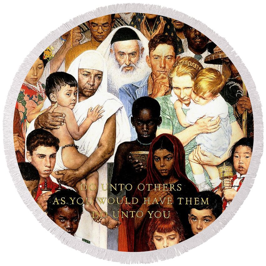 Norman Rockwell Round Beach Towels