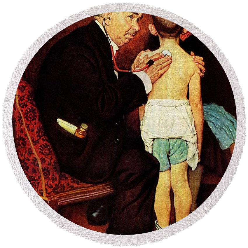 Doctor Round Beach Towel featuring the drawing Doc Melhorn And The Pearly Gates by Norman Rockwell
