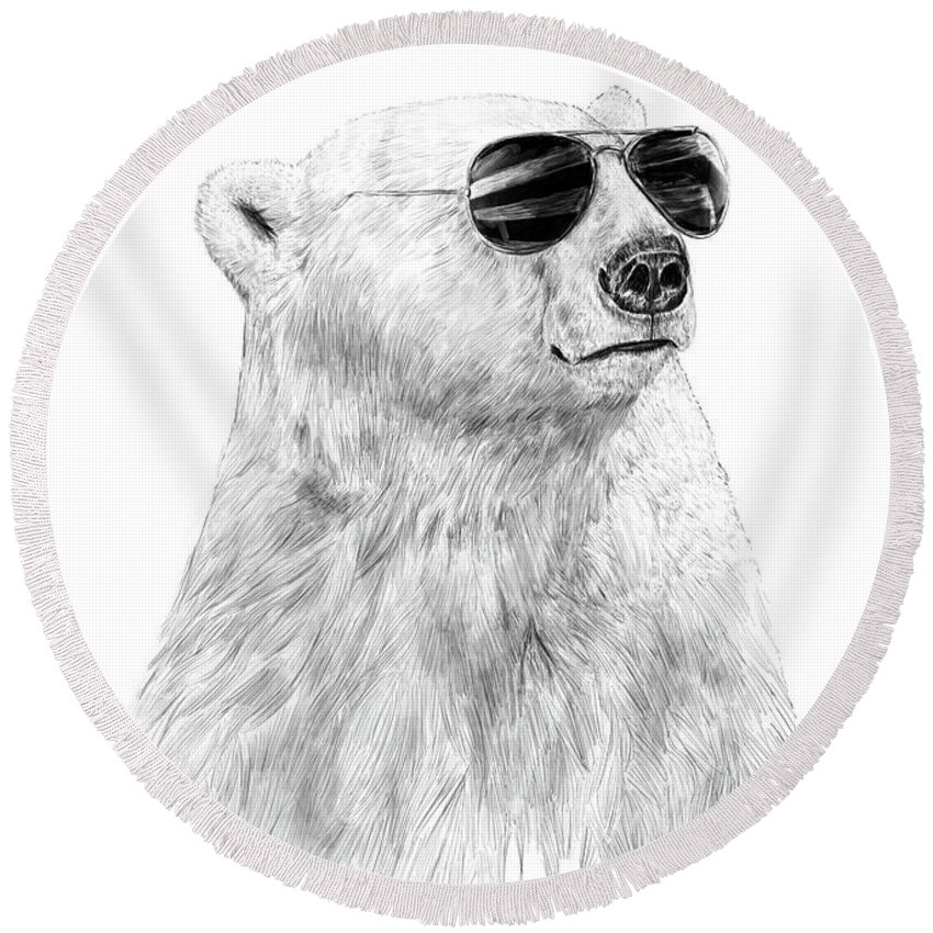 Polar Bear Round Beach Towel featuring the drawing Don't Let The Sun Go Down by Balazs Solti